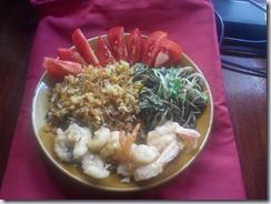 Spoiling myself by Russian pilau, Thai vegies and sea shrimps